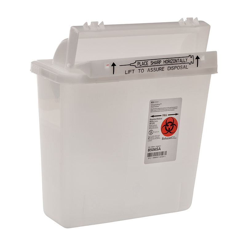 SharpSafety Safety Container, Counterbalance Lid, 5qt Clear - 20ct
