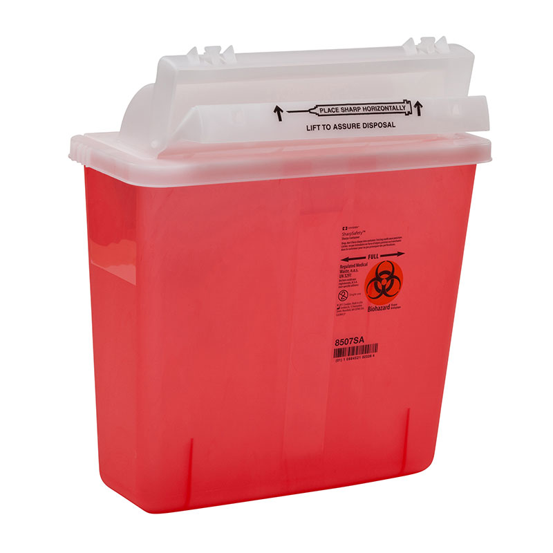 SharpSafety Safety Container 5 Quart Transparent Red - 20ct