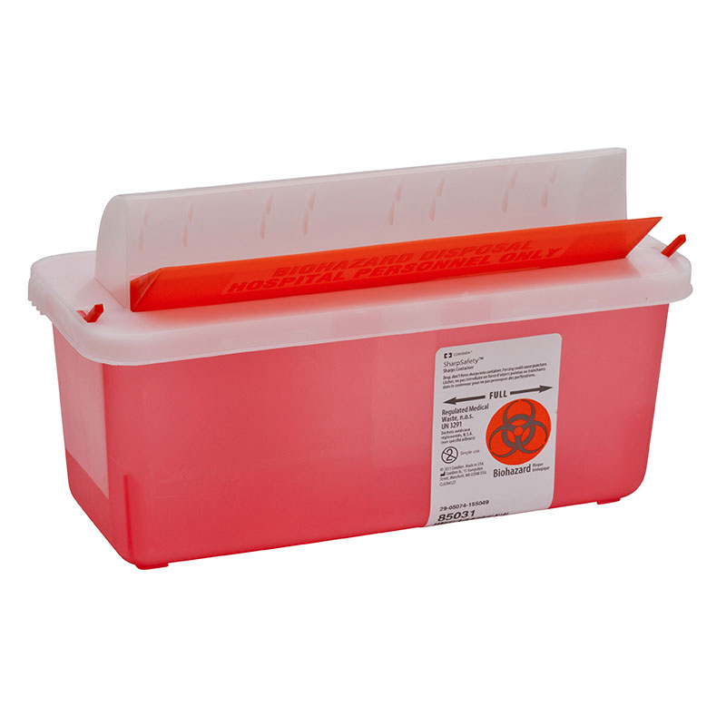 SharpSafety In Room Sharps Container Mailbox, 5qt Transparent Red 20ct