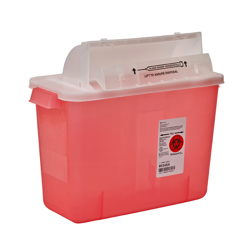 SharpSafety Safety In Room Sharps Container, 2gal Transparent Red 10ct