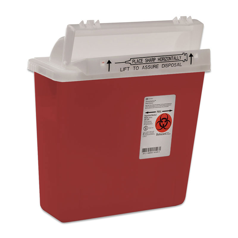 SharpSafety Safety in Room Sharps Container, 4 Gallon Transparent Red