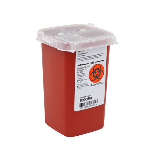 SharpSafety Sharps Container Phlebotomy 1 Quart, Red - 10ct