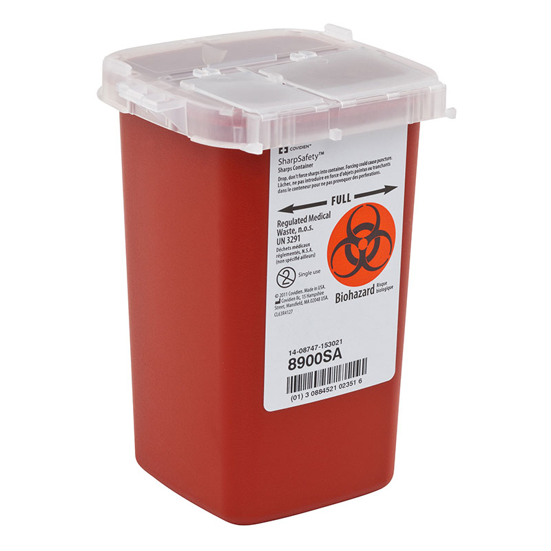 SharpSafety Sharps Container Phlebotomy 1 Quart, Red - 100ct
