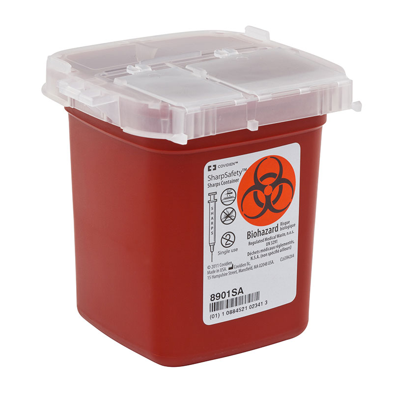 SharpSafety Sharps Container Phlebotomy 1 Pint Red - 100ct