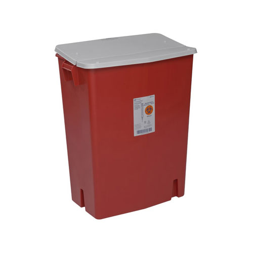 SharpSafety Sharps Container, Gasketed Hinged Lid, 30gal, Red - 3ct