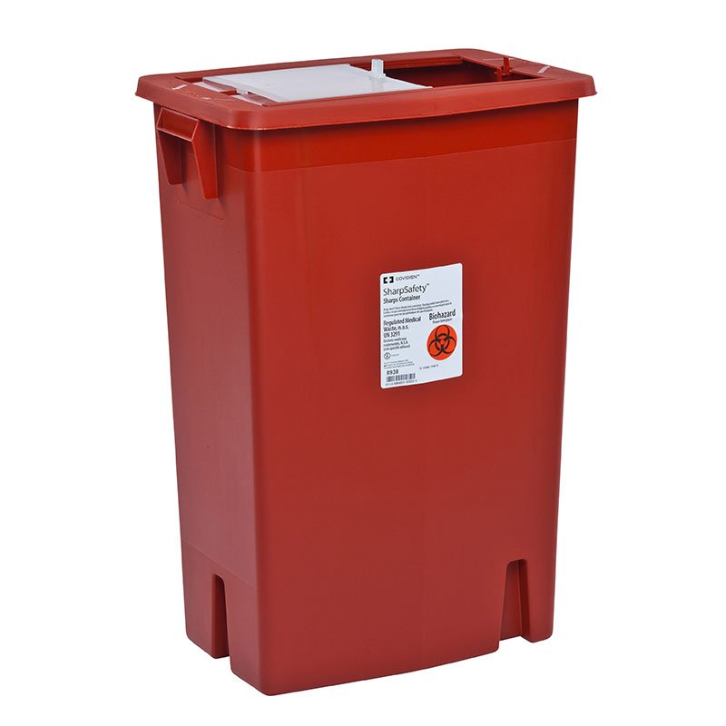 SharpSafety Container 12 Gallon, Slide Lid  - Red