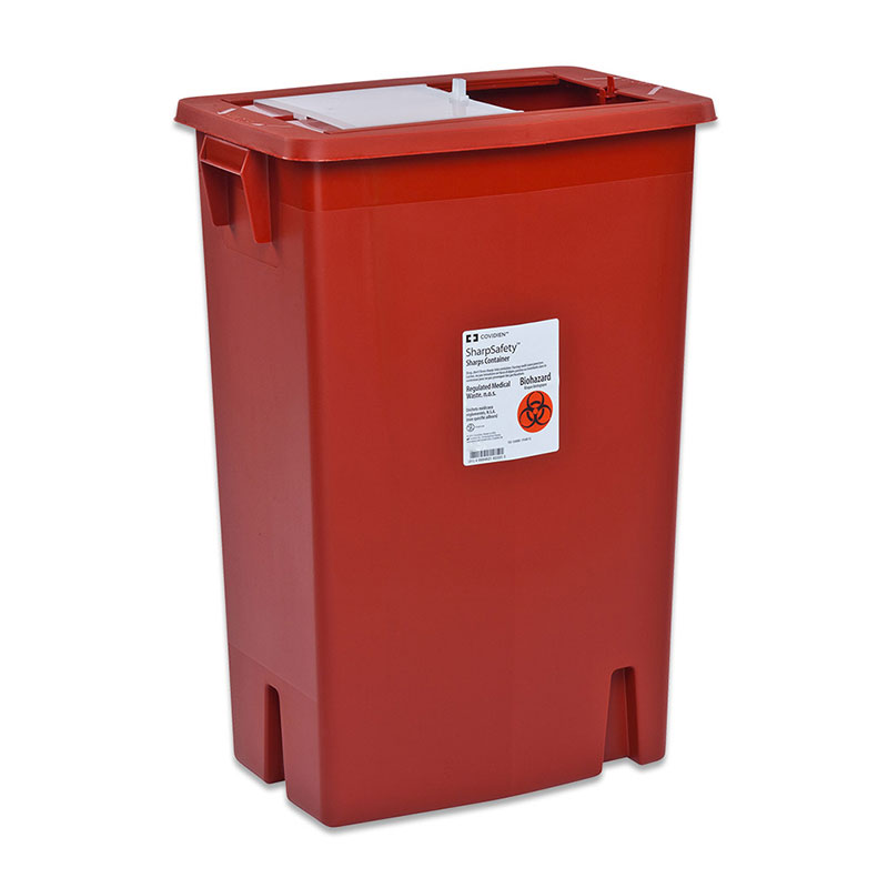 SharpSafety Sharps Container 18 Gallon, Side Lid, Red - 5ct
