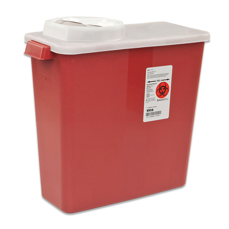SharpSafety Sharps Container, Rotor Lid, 8 Quart - Red