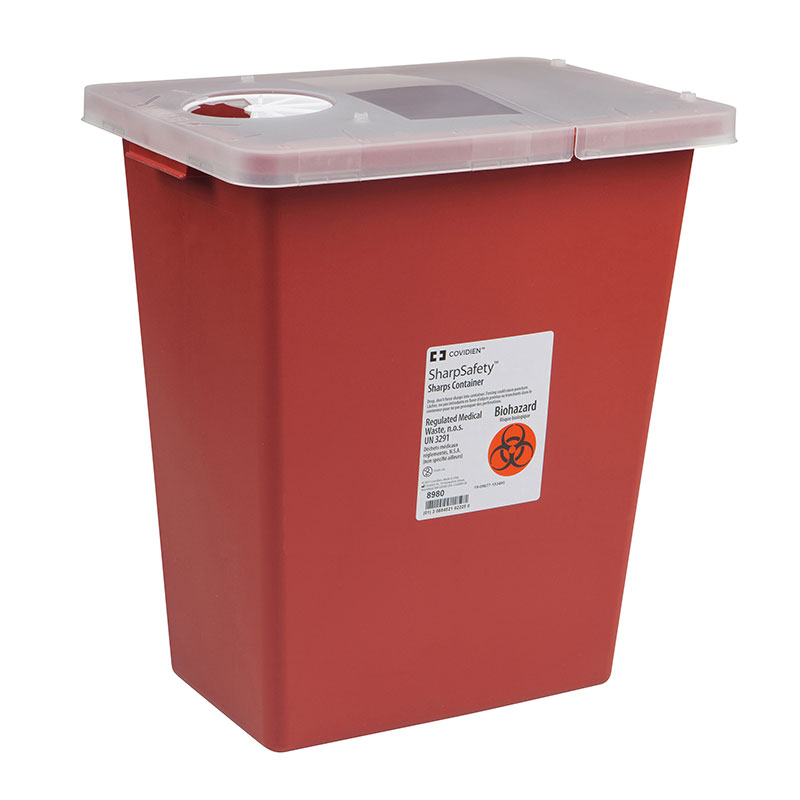 SharpSafety Sharps Container 8 Gallon, Hinged Lid - Red