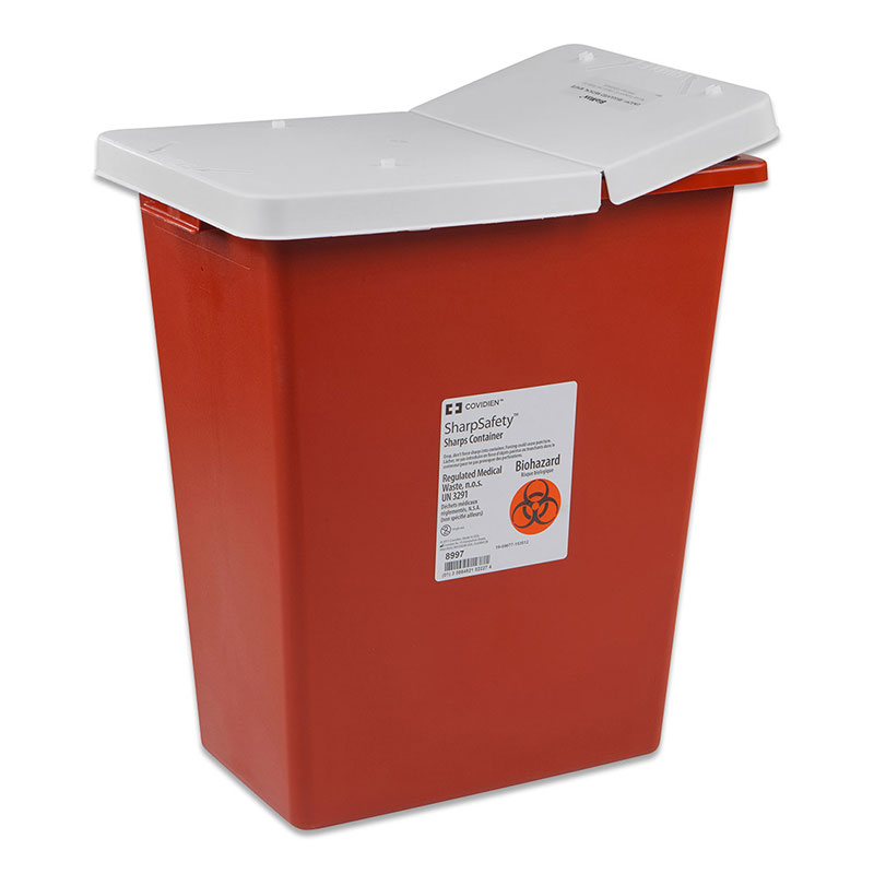 SharpSafety Sharps Container, Hinged Lid, 18 Gallon - Red