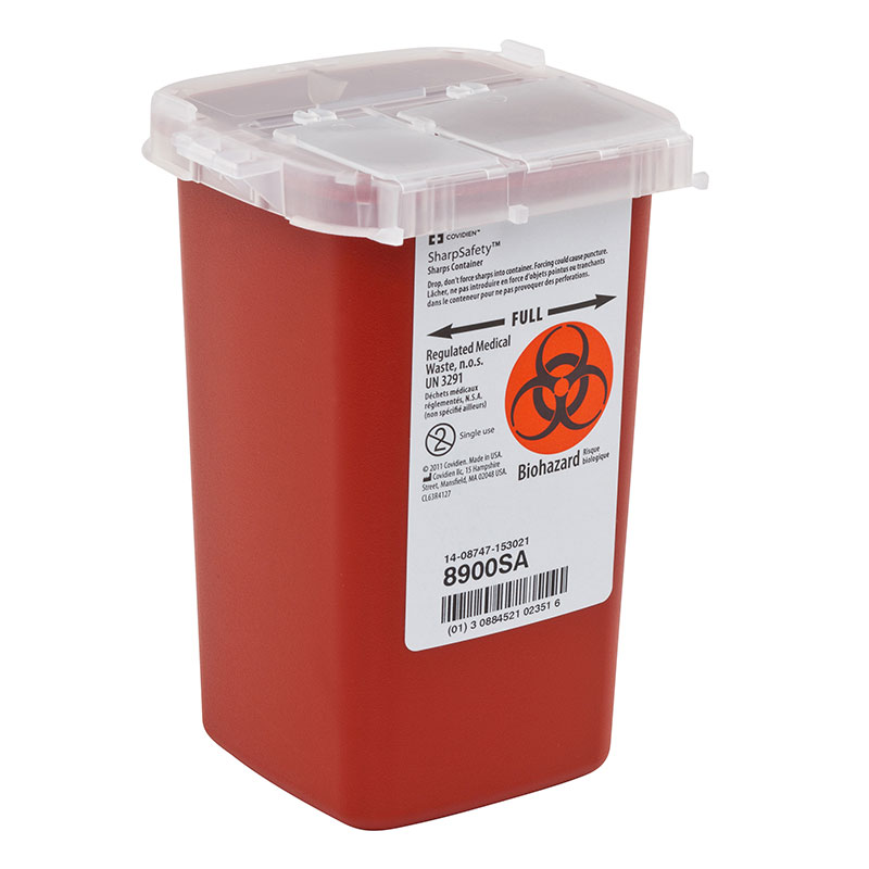 Covidien SharpSafety AutoDrop Phlebotomy Container 1Qt Red - Case of 4