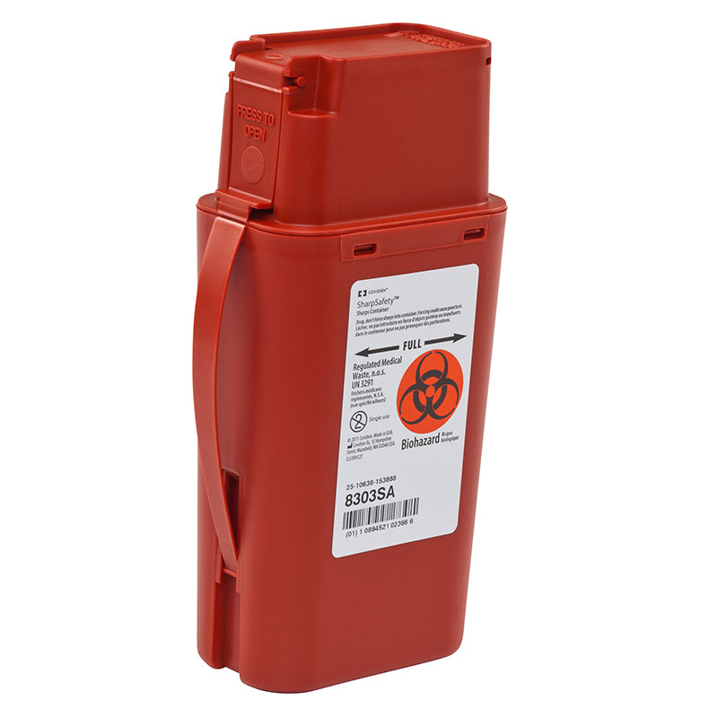 SharpSafety Sharps Container, Transportable, 1 Quart - Red