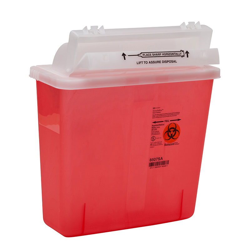 Covidien SharpStar Sharps Container 5qt Transparent Red