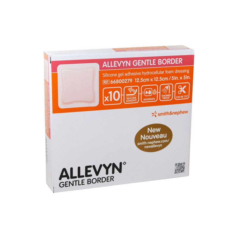 Smith and Nephew ALLEVYN Gentle Wound Dressing 5 inch x 5 inch - Box of 10