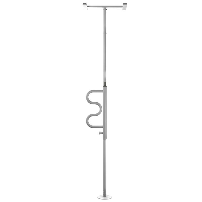 Standers Security Pole And Curved Grab Bar White