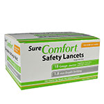 Sure Comfort 18G Safety Lancets 1.8mm Depth 100 per Box