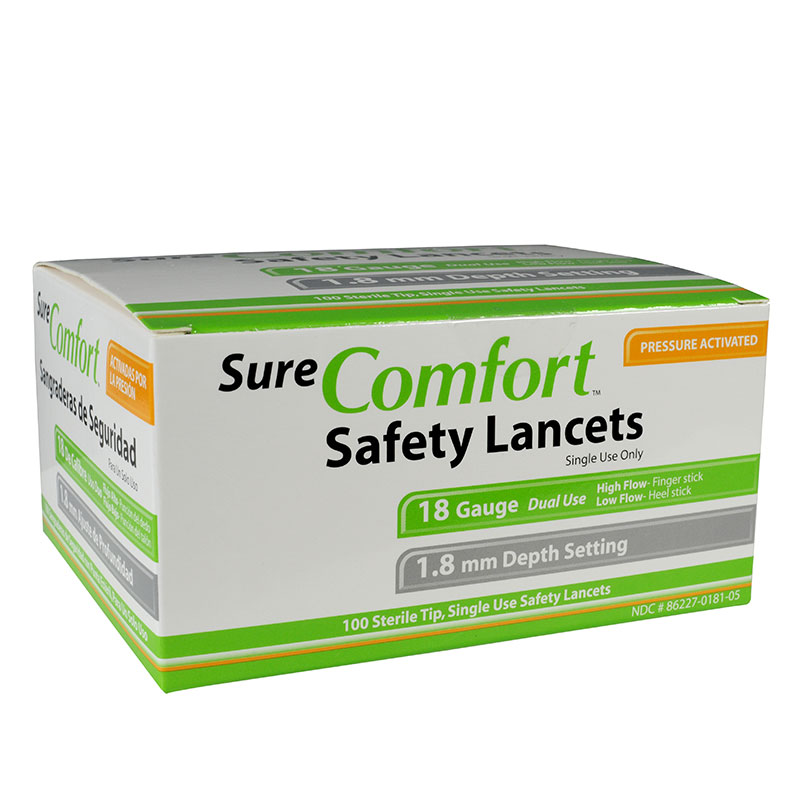 Sure Comfort 18G Safety Lancets 1.8mm Depth 100 per Box Case of 10