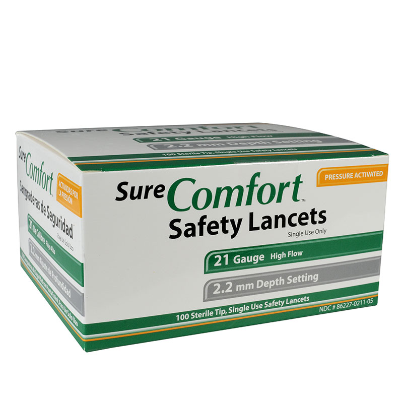Sure Comfort 21G Safety Lancets 2.2mm Depth 100 per Box Case of 10