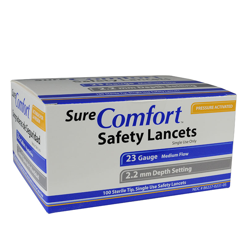 Sure Comfort 23G Safety Lancets 2.2mm Depth 100 per Box