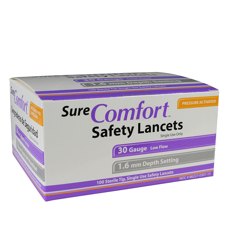 Sure Comfort 30G Safety Lancets 1.6mm Depth 100 per Box Case of 10