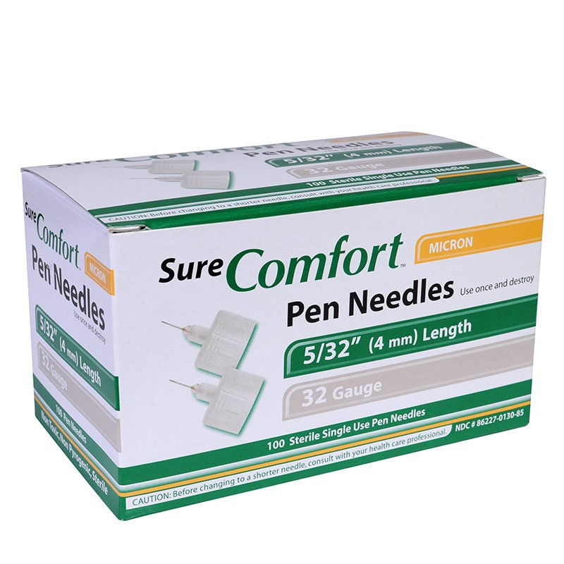 SureComfort 4MM Pen Needles 32G 5/32in 100 per Box