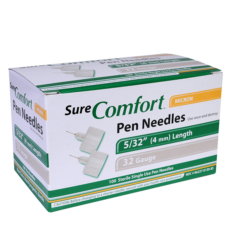 SureComfort 4MM Pen Needles 32G 5/32in 100 per Box Case of 12