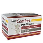 SureComfort Mini Pen Needles - 1/2 inch 29 Gauge Box of 100
