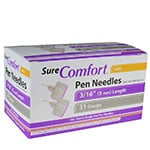 SureComfort Mini Pen Needles - 3/16 inch 31 Gauge Box of 100