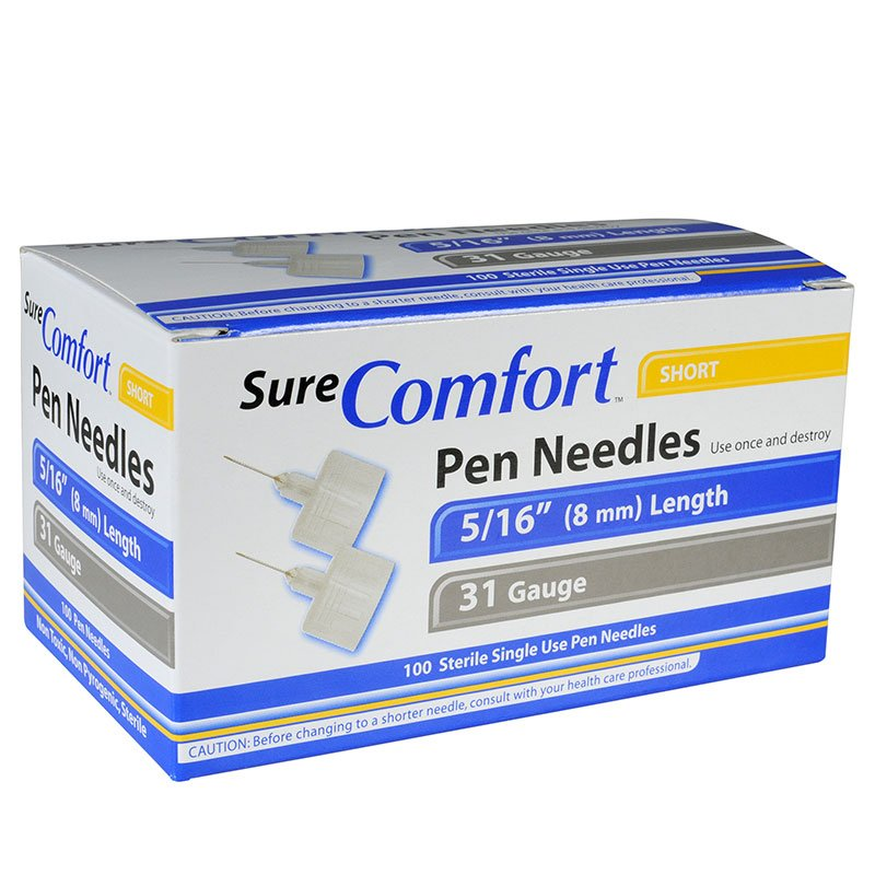 SureComfort Mini Pen Needles - 5/16 inch 31 Gauge Box of 100