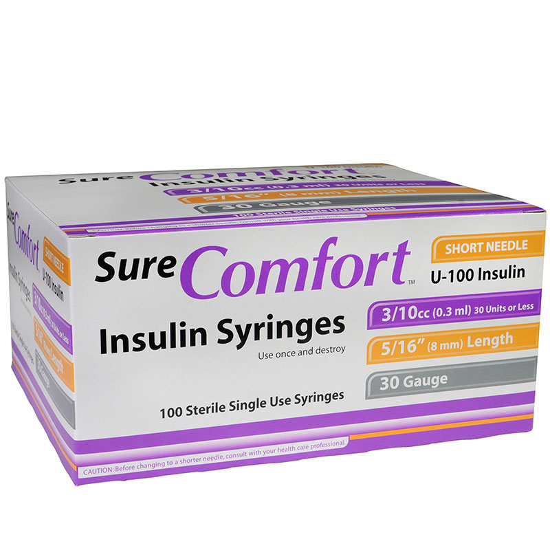 SureComfort U-100 Insulin Syringes 30G 3/10cc 5/16