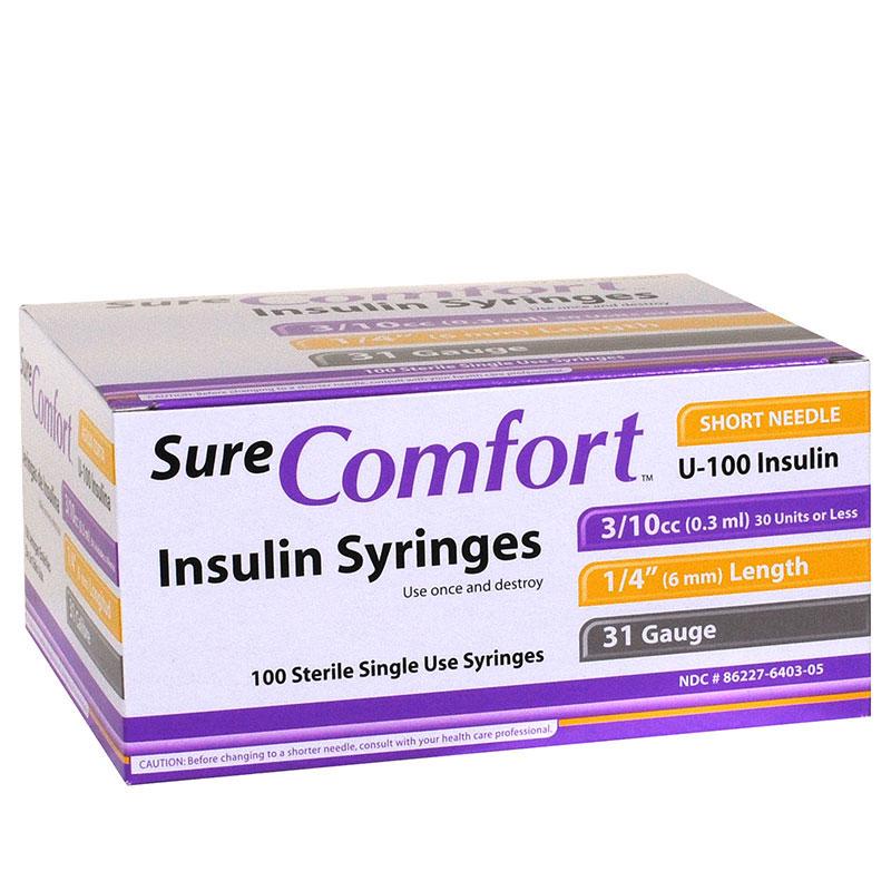 SureComfort U-100 Insulin Syringes 31 Gauge, 3/10cc, 1/4