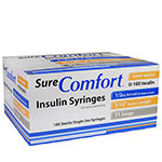 SureComfort U-100 Insulin Syringes Short Needle 31g 1/2cc 5/16in 100/bx Case of 5