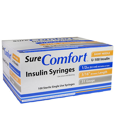 SureComfort U-100 Insulin Syringes, 31G, 1/2cc, 5/16