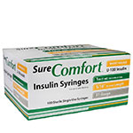 SureComfort U-100 Insulin Syringes Short Needle 31g 1cc 5/16in 100/bx Case of 5
