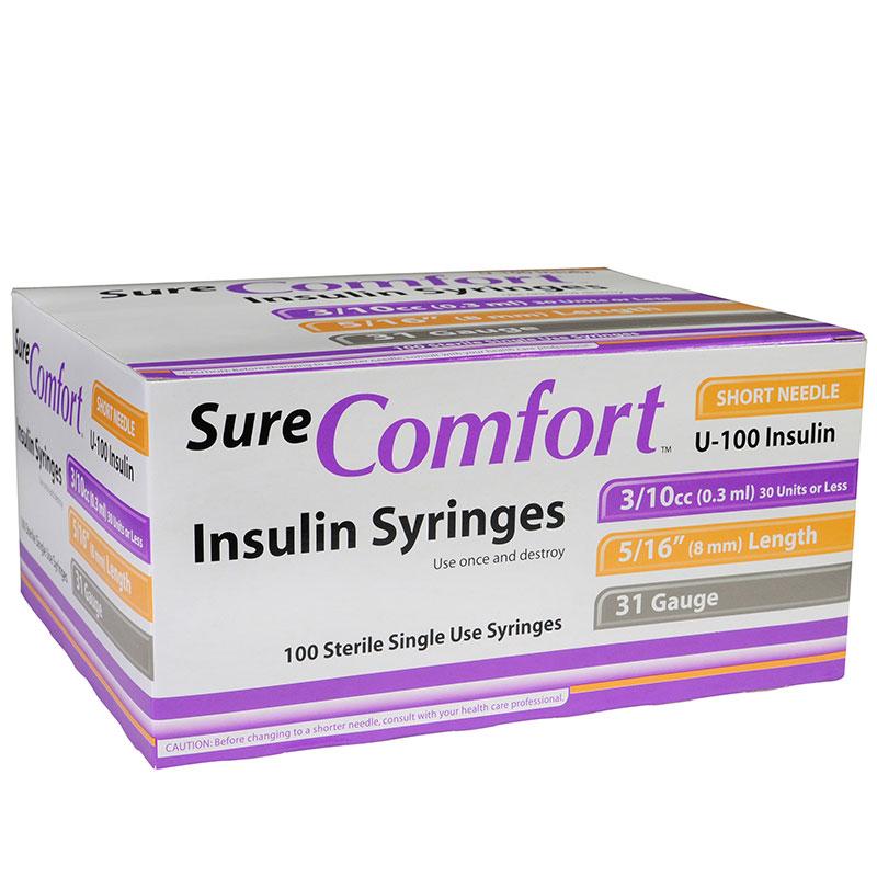 SureComfort U-100 Insulin Syringes 31G 3/10cc 5/16