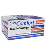 SureComfort U-100 Insulin Syringes 29g 1/2cc 1/2in 100/bx Case of 5