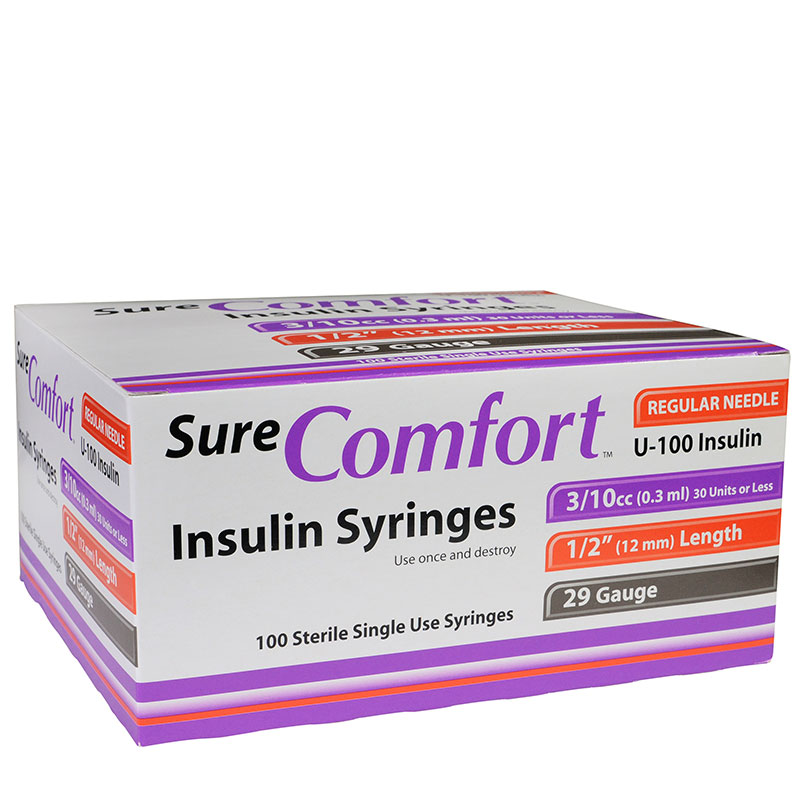 SureComfort U-100 Insulin Syringes 29G 3/10cc 1/2