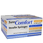SureComfort U-100 Insulin Syringes 30g 1/2cc 5/16in 100/bx Case of 5