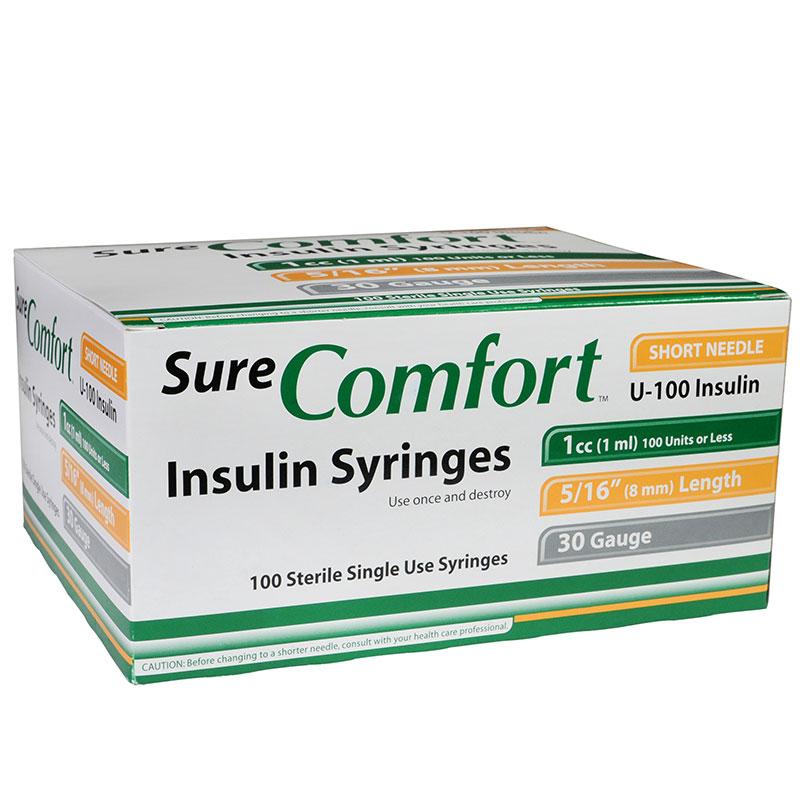 SureComfort U-100 Insulin Syringes 30G 1cc 5/16 inch 100/bx