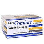 "SureComfort U-100 Insulin Syringes 31 Gauge, 1/2cc, 1/4"" - 100 Count thumbnail"