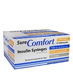 "SureComfort U-100 Insulin Syringes, 31G, 1/2cc, 5/16"" - Case of 5 thumbnail"