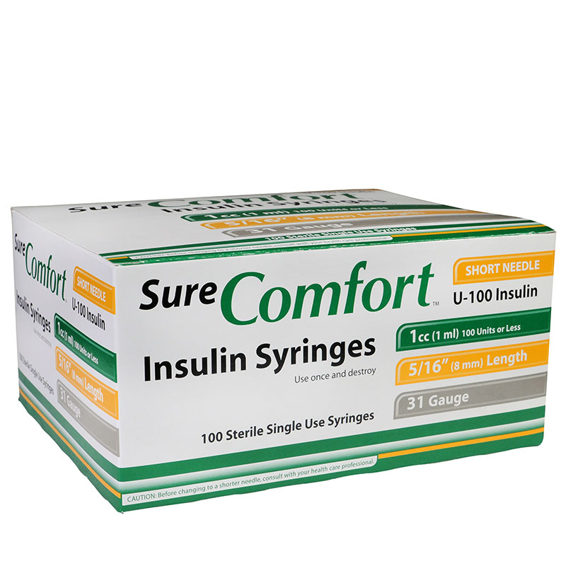 SureComfort U-100 Syringes, 31G, 1cc, 5/16 inch - Case of 5