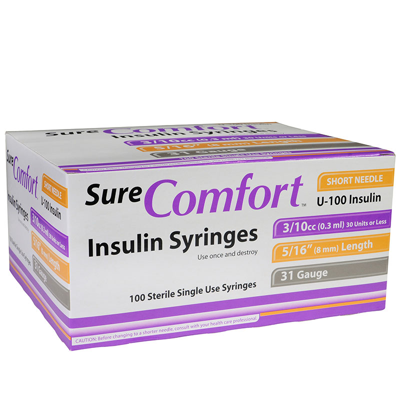 SureComfort U-100 Insulin Syringes 31G 3/10cc 5/16