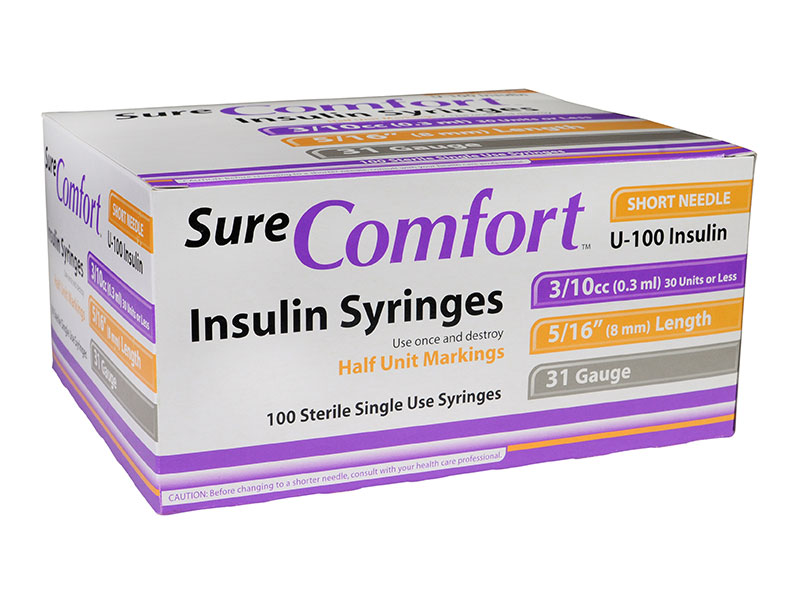 SureComfort U-100 Insulin Syringes Half Unit 31G 3/10cc 5/16