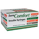 SureComfort U-100 Insulin Syringes 29g 1cc 1/2