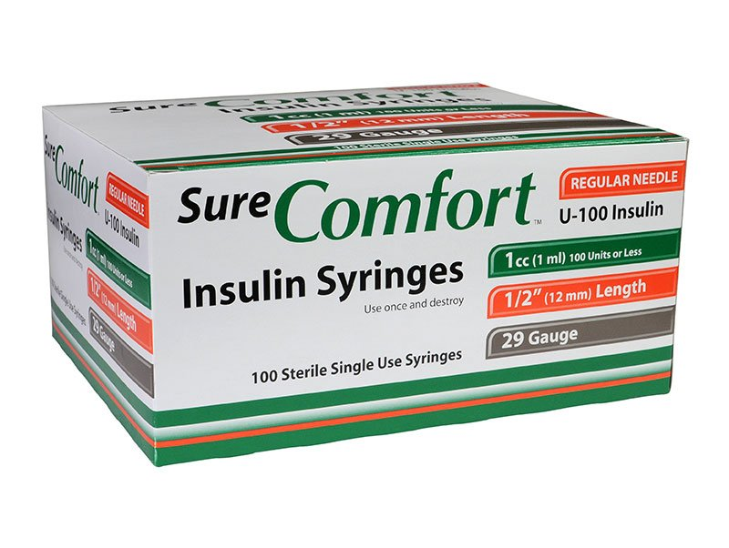 SureComfort U-100 Insulin Syringes 29g 1cc 1/2in 100/bx Case of 5