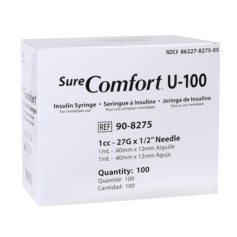 SureComfort U-100 Syringes 1cc, 27G, 1/2