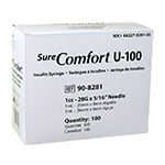 "SureComfort U-100 Syringes 1cc, 28G, 5/16"" - Blister Pack - 100ct thumbnail"