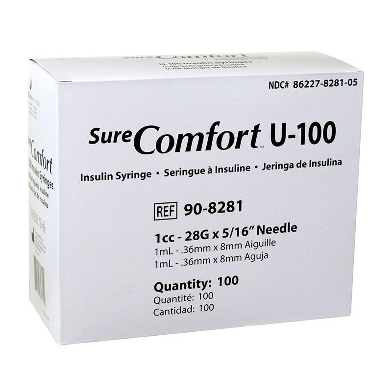 SureComfort U-100 Syringes 1cc, 28G, 5/16