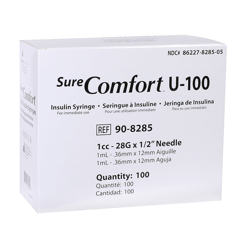 SureComfort U-100 Syringes 1cc, 28G, 1/2